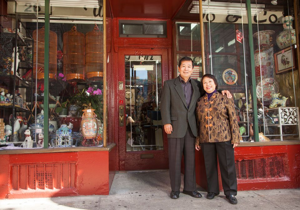 couple in front of business