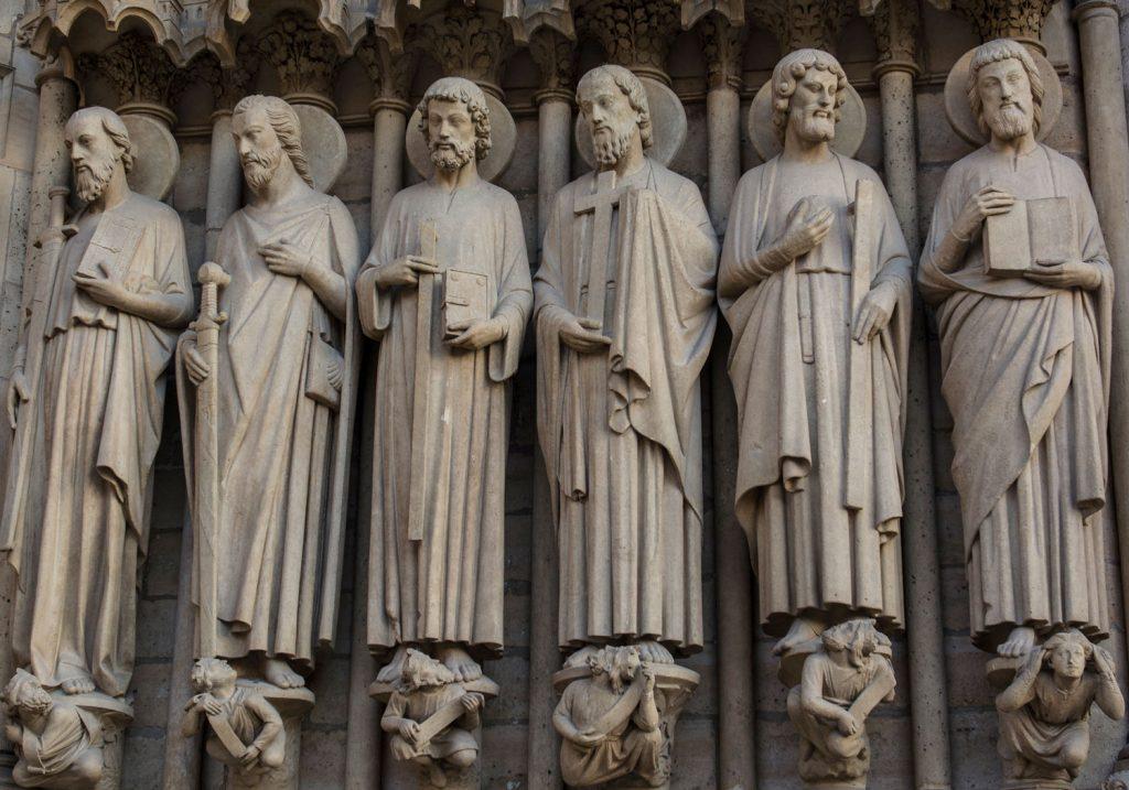 Row of stone sculpture saints