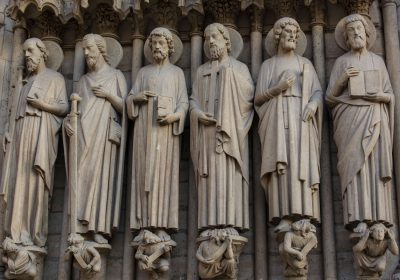 Row of stone sculpture saints